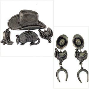 Jewelry - Western Set Earrings Pin Cowboy Hat Saddle Boots